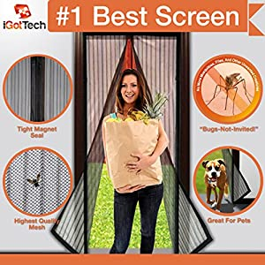 Magnetic Screen Door: Premium Quality, TOUGH CONSTRUCTION. Velcro SEWN Around ENTIRE Frame NO GAPS! Wont Fall Apart Like Magic Mesh Screen Doors As Seen On TV, Bug Off Magna ★Fits Door Openings up to 34