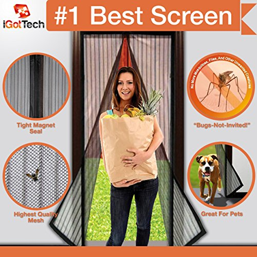 "Magnetic Screen Door, Full Frame Velcro. Fits Door Openings up to 34""x82"" MAX Patio Screen Door Frame"