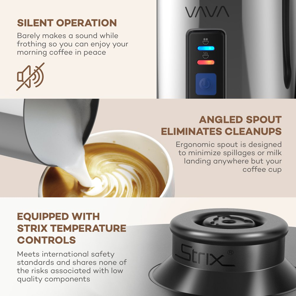 Milk Frother, VAVA Electric Liquid Heater with Hot or Cold Milk Functionality, Stainless steel Electric Milk Steamer (Silent Operation, Extra Whisks) (Renewed) by VAVA (Image #6)