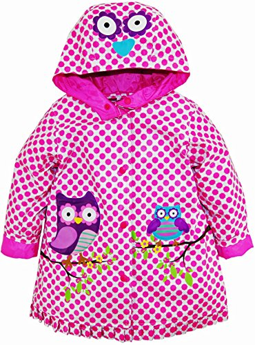 Wippette Little Girls Waterproof Vinyl Hooded Owl Raincoat Jacket, Sugar Plum, 3T