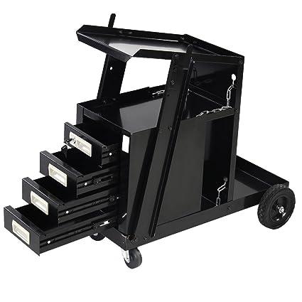 a7151183cc090 Goplus Welding Welder Cart MIG TIG ARC Plasma Cutter Tank Storage w 2  Safety Chains