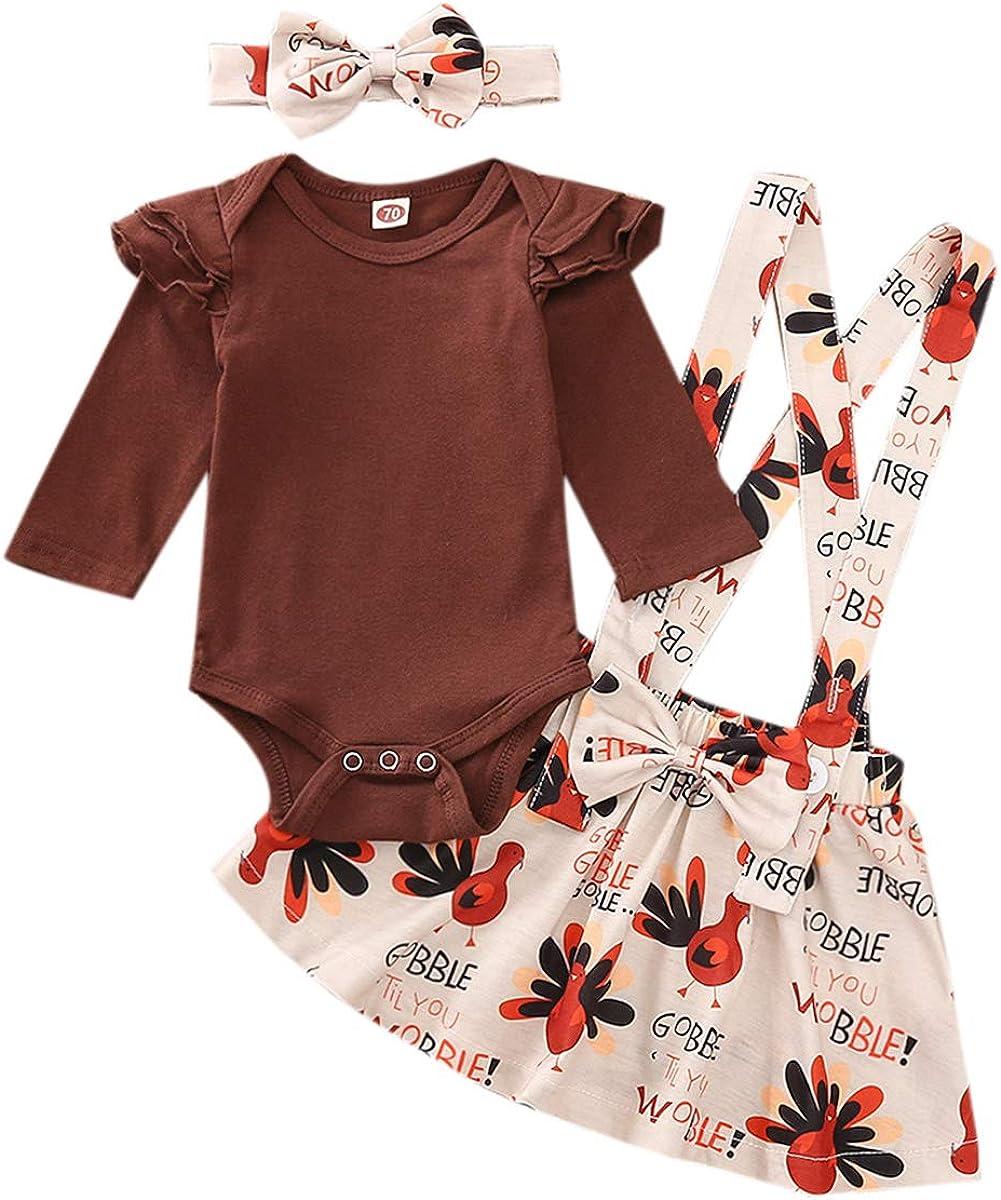 Pumpkin Print Strap Dress Headband Skirt Set Toddler Baby Girls Halloween//Thanksgiving Clothes Long Sleeve Romper