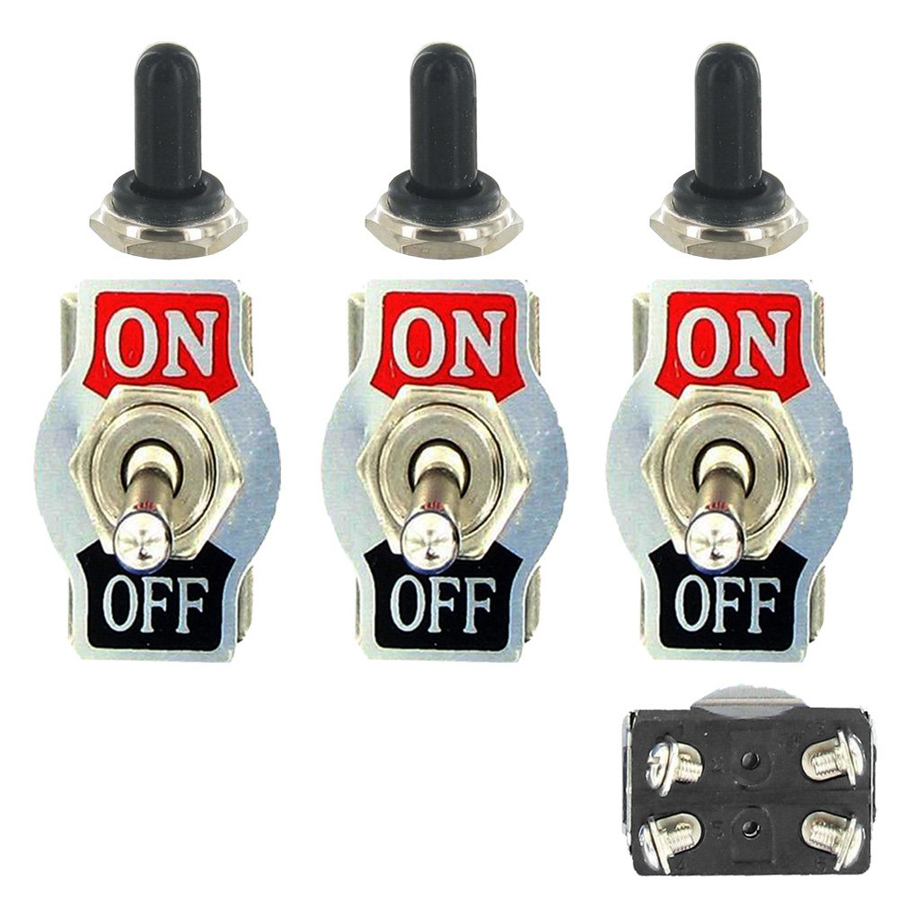E Support Car Univeral Heavy Duty 20A 125V DPST 4Pin ON/OFF Rocker Toggle Switch Metal Waterproof Boot Cap 12mm Pack of 3 CXCP193KA