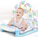 YVSoo Gimnasio Bebés Piano Pataditas, Manta Estera de Juego Gym PlayMat con Música y Luces para Infantil Niños (Azul)