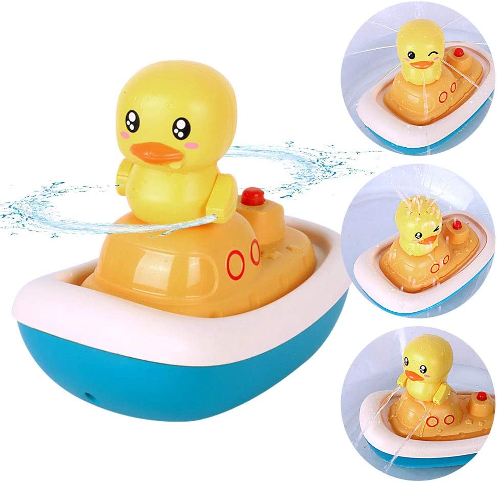 1 Floating Boat with 3 Spray Ducks Mold Free Bath Toys for Toddlers CyanCloud Baby Bath Toys Sprinkler Shower Bath Toys for Kids Ages 1+ Years Old Electric Water Spray Bathtub Toys