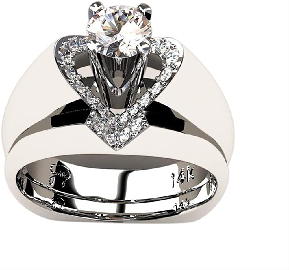 Gbell Romantic Zirconia Rings for Women Womens Fashion Silver Diamond Heart Anniversary Rings Eternity Engagement Wedding Promise Rings for Ladies Valentine Birthday Jewelry Gift Size 5-10