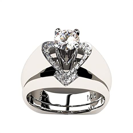 Amazon Com Women Ring Wedding Rings Engagement Ring Set Titanium