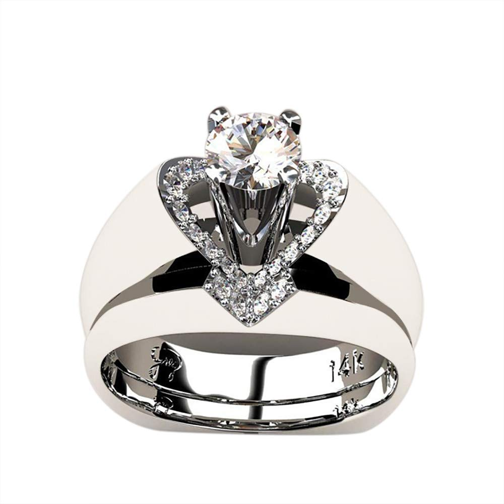 XEDUO Delicate Women Fashion 925 Sterling Silver White Sapphire Diamond Ring Engagement Wedding Jewelry Size j l n p r t (Silver, R)