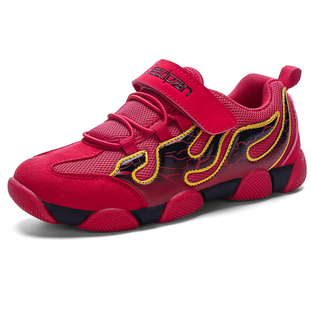 0847a7d2 LGXH Big Boys Tennis Shoes Mesh Anti-Slip Wear-Resistant Sole Youth Girl  Causal Athletic Running Sneaker Red Size 13 M US Little Kid