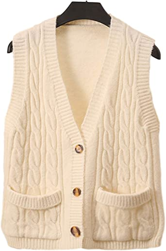 Size 10 UK Medium Made in New Zealand Cream Cable Knit Sweater Vest Sleeveless Size 8 US Cable Knit Vest D