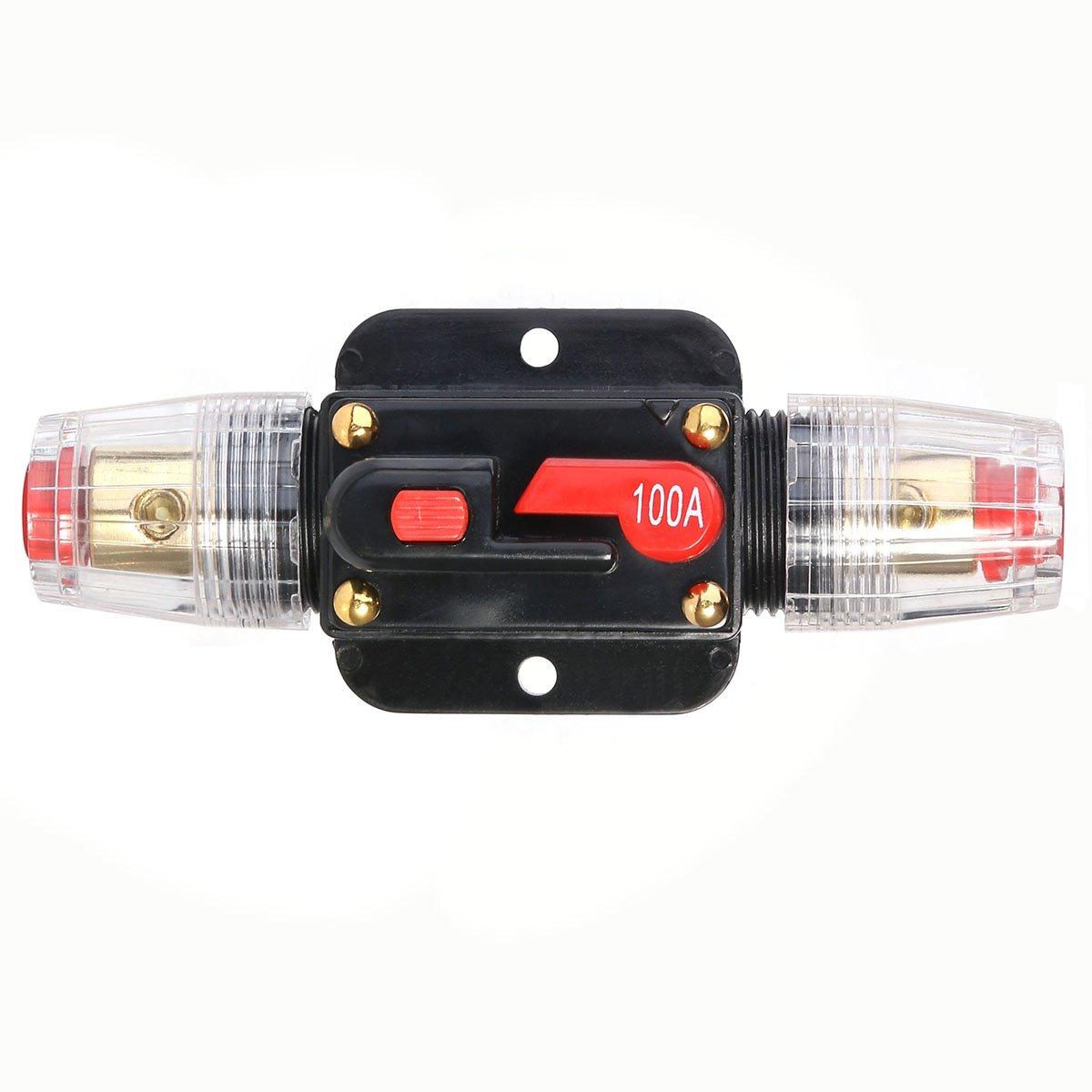 WINOMO Auto-Schutz Stereo-Schalter Auto 100A Sicherung Halter Inline-Leistungsschalter Reset Sicherung Wechselrichter
