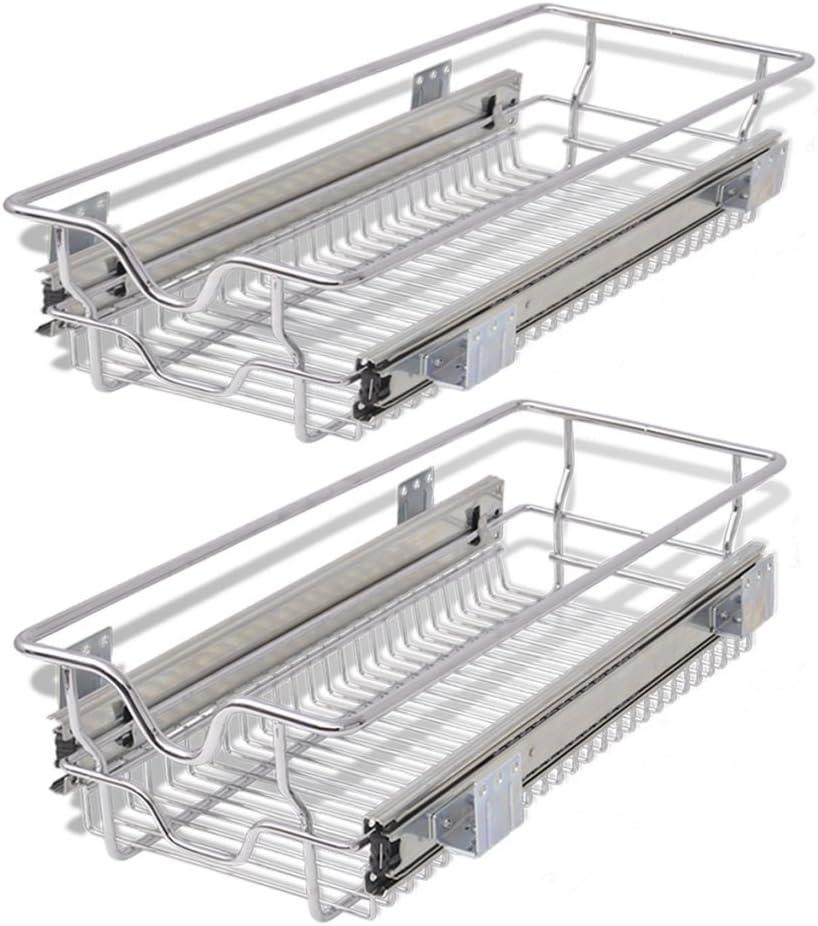 Festnight Pull-Out Wire Storage Basket Baskets Set for Kitchen or Bedroom Silver 300 mm Set of 2