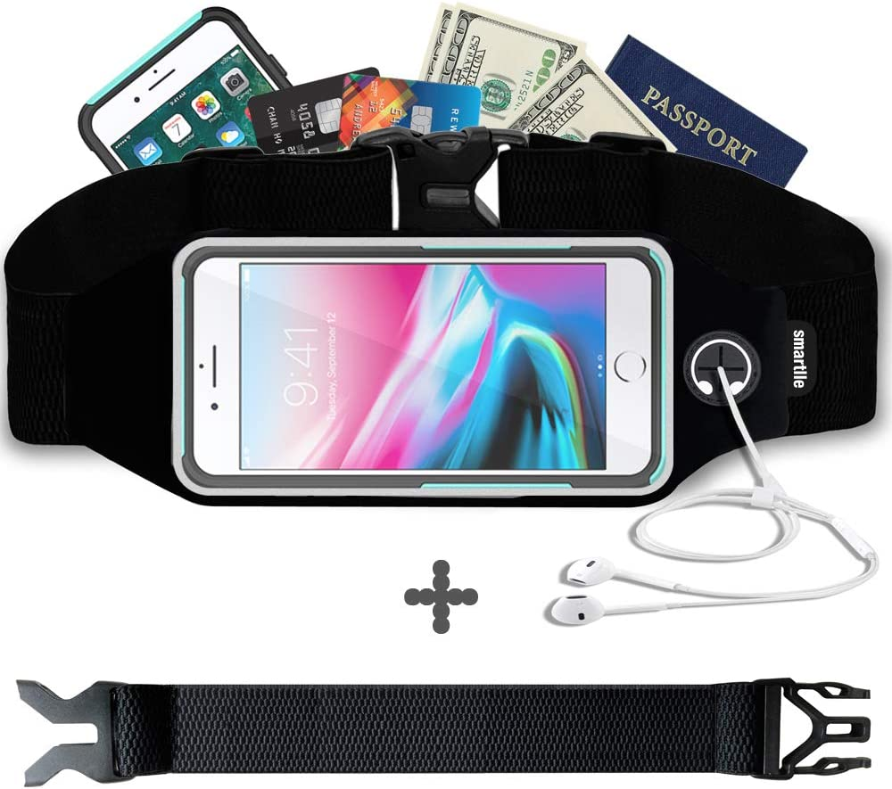 smartlle Fanny pack, Running belt, Waist bag for Women & Men for iPhone XS Max, XR, XS/X, 8/7/6s Plus, 8/7/6/SE, Samsung Galaxy S10/S9/S8 Plus/Note, Moto, with cases on. Gym Workout Fitness Gear-Black