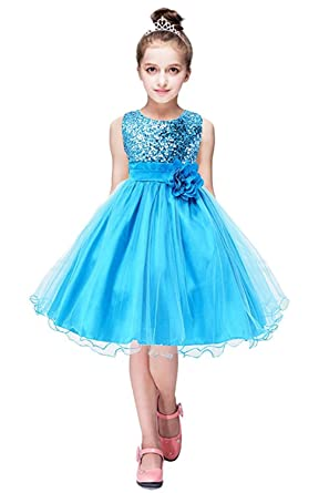 8eb6f04fe5 ZAH Sequin Mesh Flower Party Wedding Gown Bridesmaid Tulle Dress Little Girl (Blue