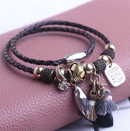 Amazon Com Aidou Charm Bracelets Fringe Leather Bracelet