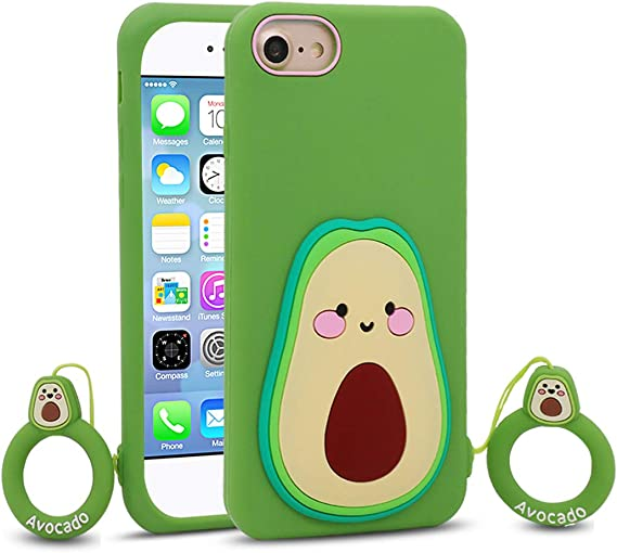 for iPhone 7/8 / SE 2 / iPhone SE 2020 Case Avocado, Cute 3D Cartoon Funny Kawaii Avocado Soft Silicone Rubber Phone Cover Case for iPhone 7/8 for ...