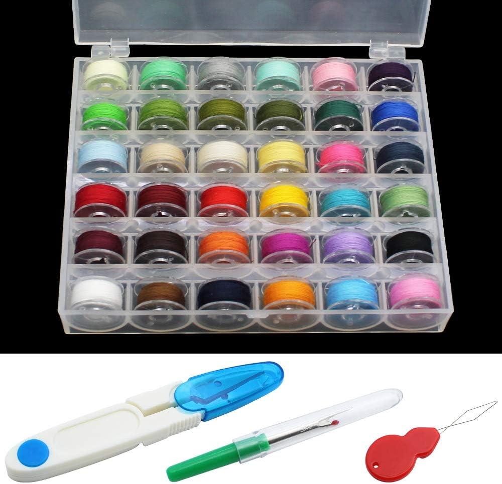 Caja de Máquina de Coser de Plástico 36 Piezas Colores Surtidos Hilos in Poliéster con Tijeras Enhebrar y Quitar Herramientas para Todos los Modelos de Máquinas de Coser