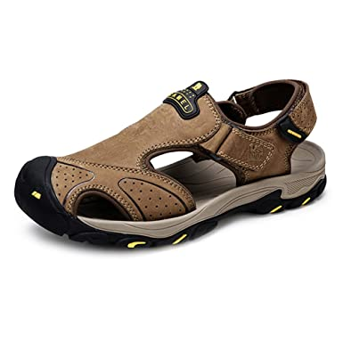 b7aa02518a6f1 Men Sandal Leather Shoes Closed Toe Flat Fishermen Sandals Walking Slippers  Shoes Perfect for Beach Outdoor Trekking Travel  Amazon.co.uk  Clothing