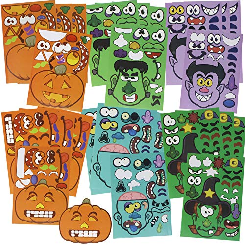 JOYIN 24 Pieces Mix and Match Halloween Decoration Stickers in 6 Designs with Jack-o-Lantern Pumpkin Vampire Witch Frankstein Zombie Halloween Party -