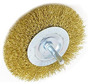 3 pack 4 inch Brass-Coated Wire Brush Wheel Mounted on 1/4 inch Shank