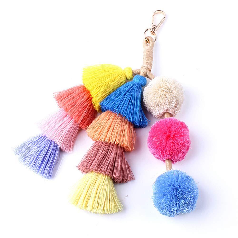 Colorful Boho Pom Pom Tassel Bag Charm Key Chain (R)