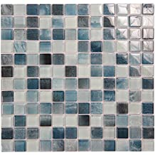 Extant Emerald Green 1x1 Sparkle Pool Tile - Double Pressed Glass, Mesh Mounted Sheet - Durable for Weather Elements (5 Sheets)