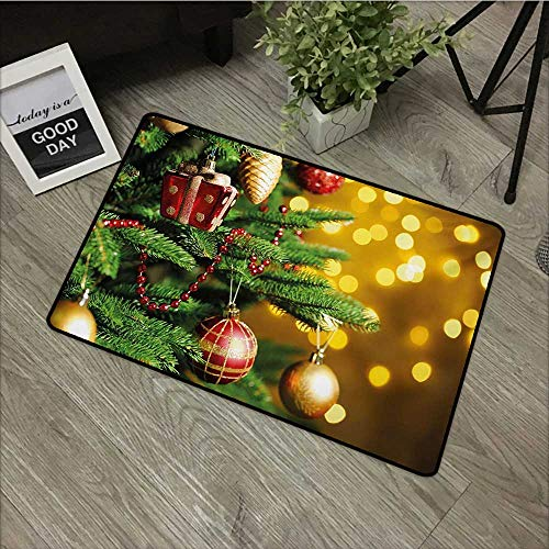 Moses Whitehead Welcome Door mat Christmas,Close Up Decorated Christmas Tree Branches on Blurred Fairy Backdrop Picture,Gold Green Red,for Patio, Front Door, All Weather Exterior Doors,31