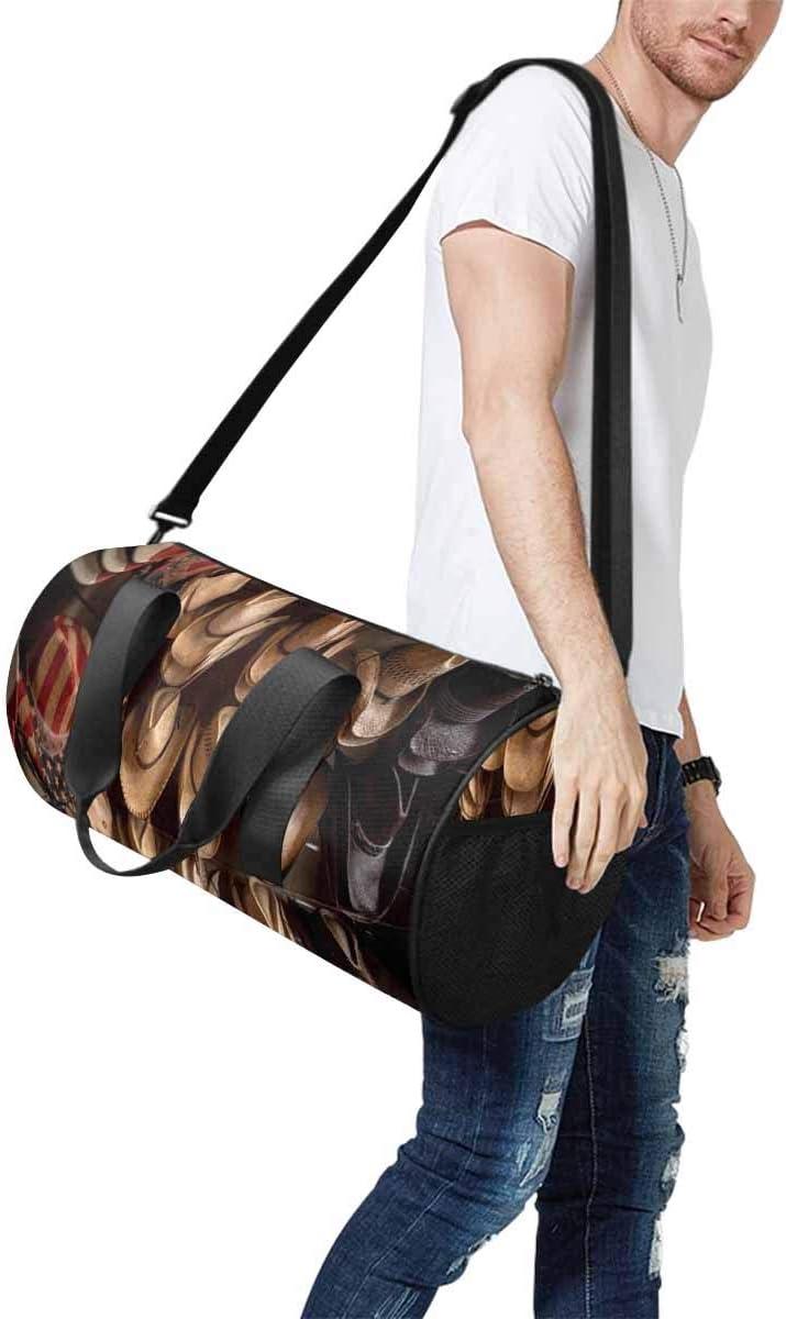 INTERESTPRINT Rack of Straw Cowboy Hats Travel Overnight Carry on Bag
