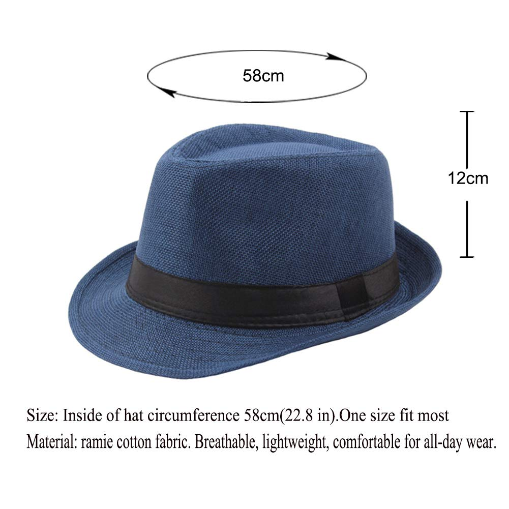 Vim Tree001 Mens Classic Short Brim Straw Fedora with Band Beach Trilby Sun Hat