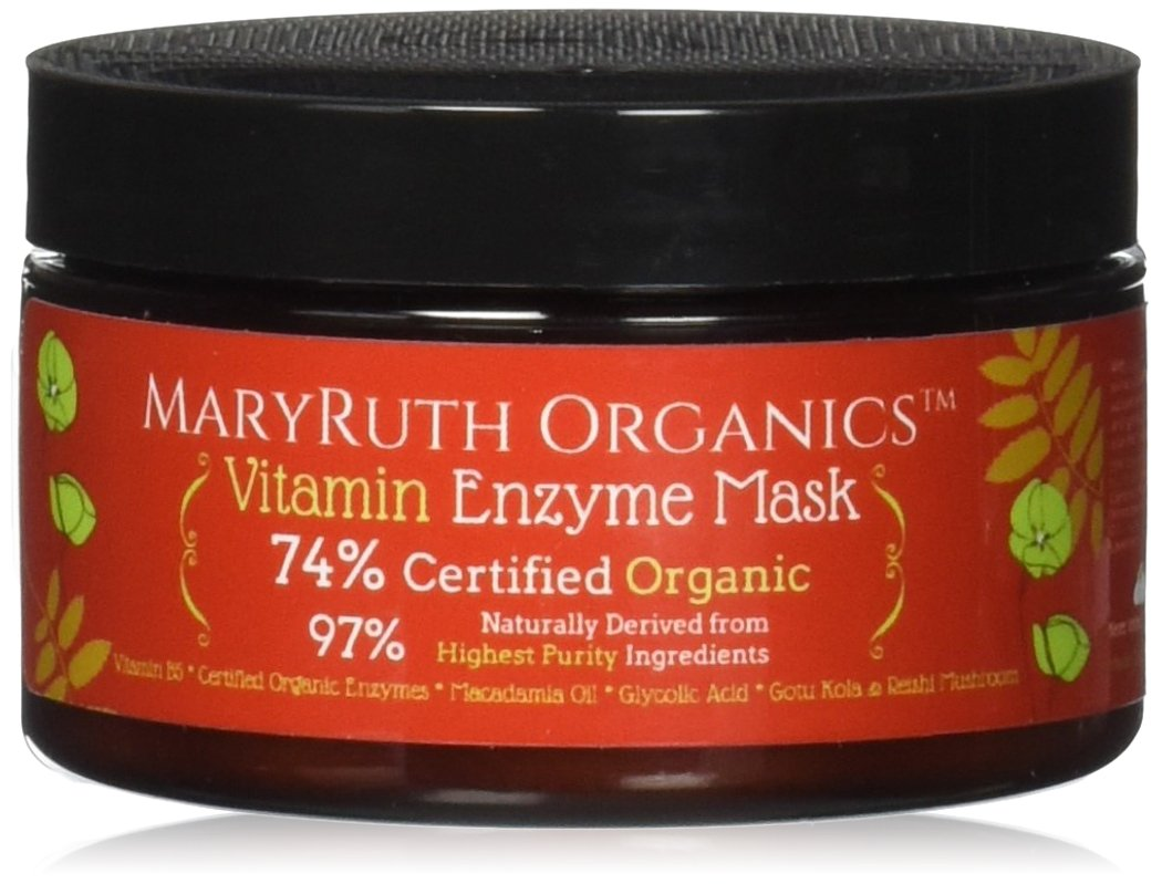 ORGANIC VITAMIN ENZYME MASK by MaryRuth's - Unscented Highest Purity 74% Organic Ingredients, Vitamins & Glycolic Acid gently remove dead skin cells to allow new skin tissue to emerge 4oz