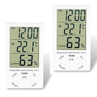 Thermometer Hygrometer Temperatur Luftfeuchtigkeit Messgerät Uhr LCD..