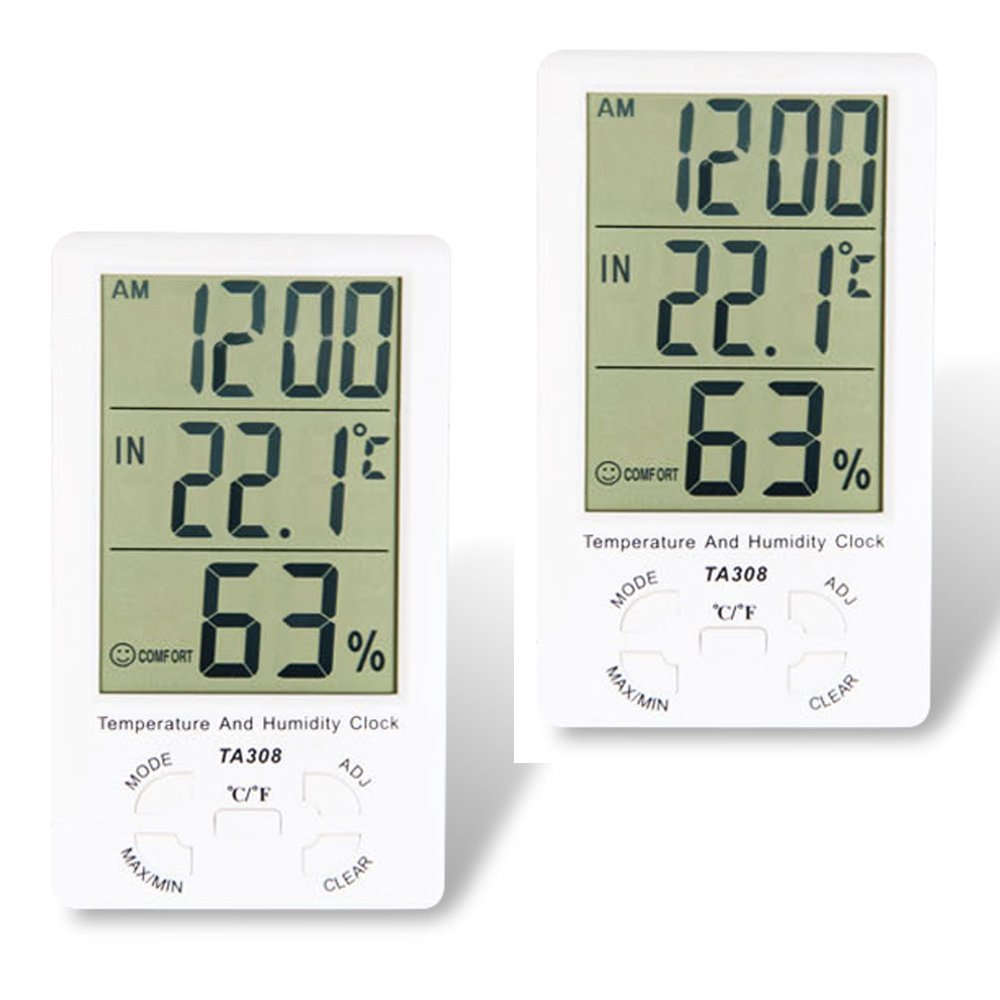 NUZAMAS Set of 2 Large LCD Digital Humidity Temperature Thermometer sensor & Clock, Thermometer Hygrometer Gauge, Indoor/Outdoor Humidity and Temperature Monitor for Home Office, Min/Max Records