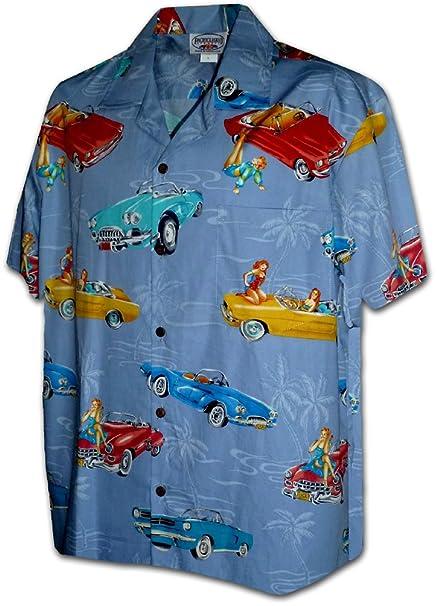 Amazon.com: Aloha hawaiano camisa coches clásicos con Pin Up ...