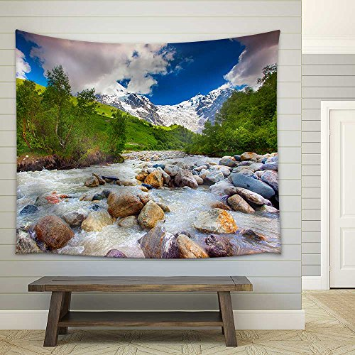 Beautiful Landscape with Mountain Stream Georgia Svaneti Fabric Wall Tapestry