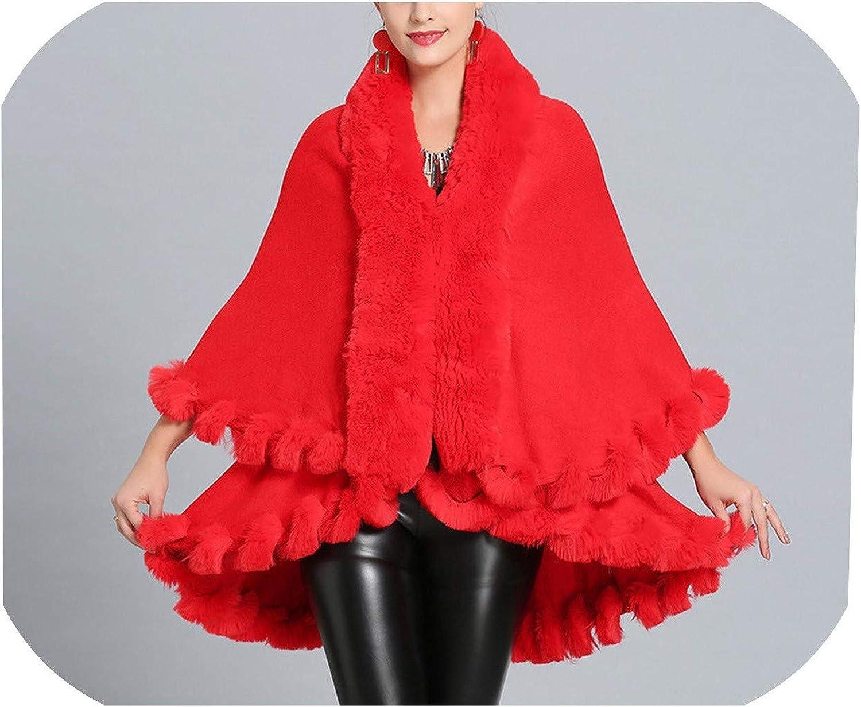 Inverno Caldo Faux Fox Cape Mantello Oversize Maglia Maglione Donna Europeo Sciolto Cardigan Cappotto Rosso