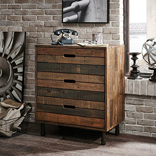 Workstation Set Wide (Brown 3-Drawer Multi Dresser, Framed with a Hand Patina Gun Metal Finished Frame, Sturdy and Solid, Pine Wood and Metal Leg Construction, Stylish and Functional, Assembly Required, Natural Finish)