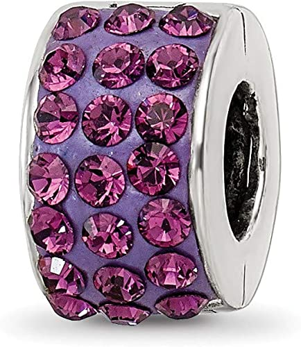 Women 925 Silver Plated Beaded Purple Wheel Princess Crown Charm Bracelet