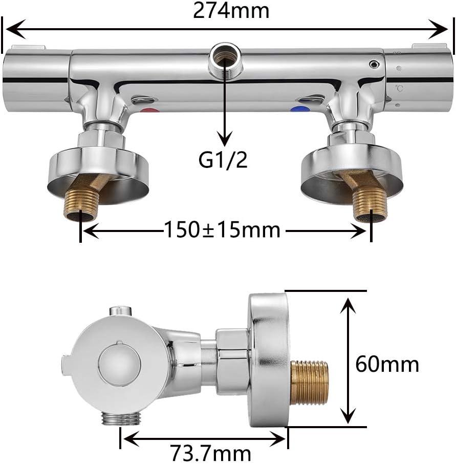 Chrom Duschthermostat Brausethermostat Dusche mit 38 /°C Sicherheitstaste Mischbatterie Dusche aus H59 Messing Duscharmatur Thermostat VENTCY Duschmischbatterie Thermostat