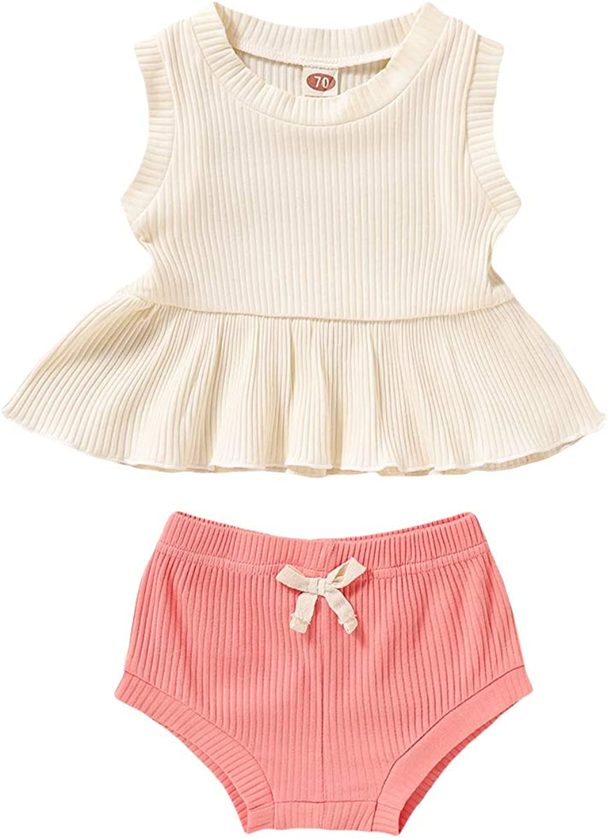 Toddler Infant Baby Girl Summer Clothes Sleeveless Ruffle Tops Bowknot Shorts 2Pcs Baby Casual Outfits Set