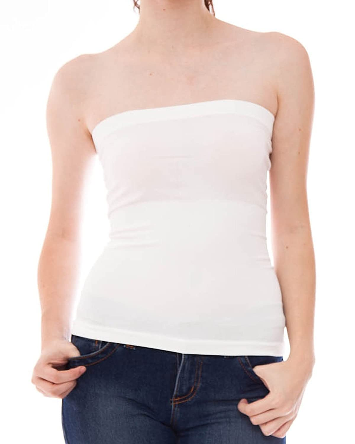 da59b8c6fd Hollywood Star Fashion Women s Plain Stretch Seamless Strapless Layer Tube  Top well-wreapped