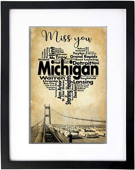 VinMea Art Print Wall Art,Miss You Michigan Sterling Heights America Frames with High Definition Glass,Home/Office Wall Art Decor Wooden Frames 8X12 Inches