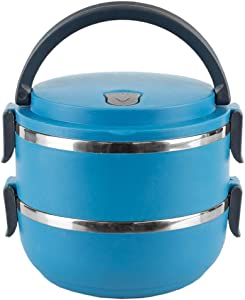 Home Basics 2 Tier Leak-Proof Stainless-Steel Lunch, Insulated Tiffin Food Container Storage Box Carrier for Adult Kids Work Students, Blue