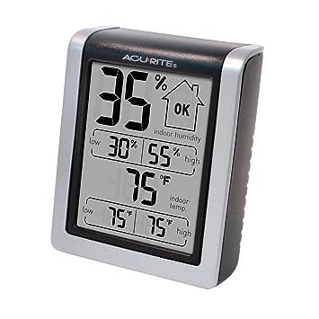 AcuRite 01131 M Digital higrómetro y termómetro, plástico, Plateado, 6.37H x 3.87W x 1.25D: Amazon.es: Hogar