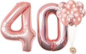 AULE 40 Inch Big Rose Gold Foil Mylar Number Balloons for Women 40th Birthday Party Decorations Giant Happy 40 Anniversary Party Decor