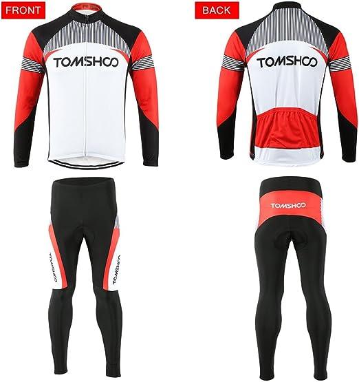 TOMSHOO Radtrikot Radfahren Kleidung Set Herren Set Schnell Trocken Langarm Radfahren Jersey mit Hose f¨¹r Mountain Biking und Outdoor