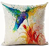 Beautiful Ink Painting Hummingbird Red Flower Musa Coccinea Home Cotton Linen Throw Pillow Case Personalized Cushion Cover NEW Home Office Decorative Square 18 X 18 Inches