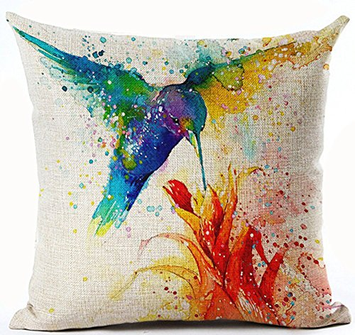 Andreannie Beautiful Ink Painting Hummingbird Red Flower Musa Coccinea Home Cotton Linen Throw Pillow Case Personalized Cushion Cover New Home Office Decorative Square 18 X 18 Inches ()