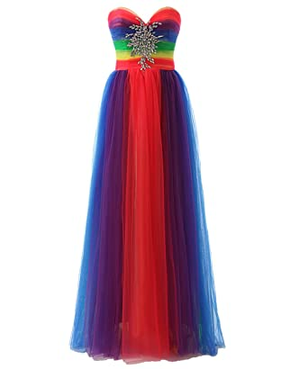 1976929ae1 JAEDEN Colorful Rainbow Evening Dresses Long Prom Gown Sweetheart  Multicoloured at Amazon Women's Clothing store:
