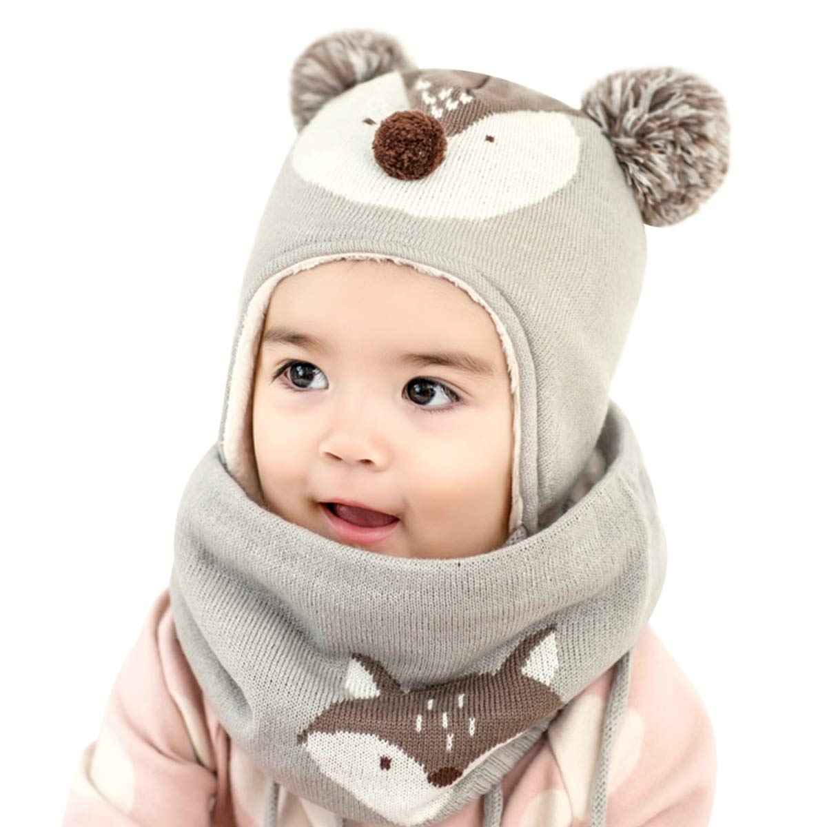 DORRISO Cute Small Foxs Caps Scarf Set Autumn Winter Kids Newborn Baby Caps and Scarf Girls Boys Knitted Warm Comfortable Beanies Hat