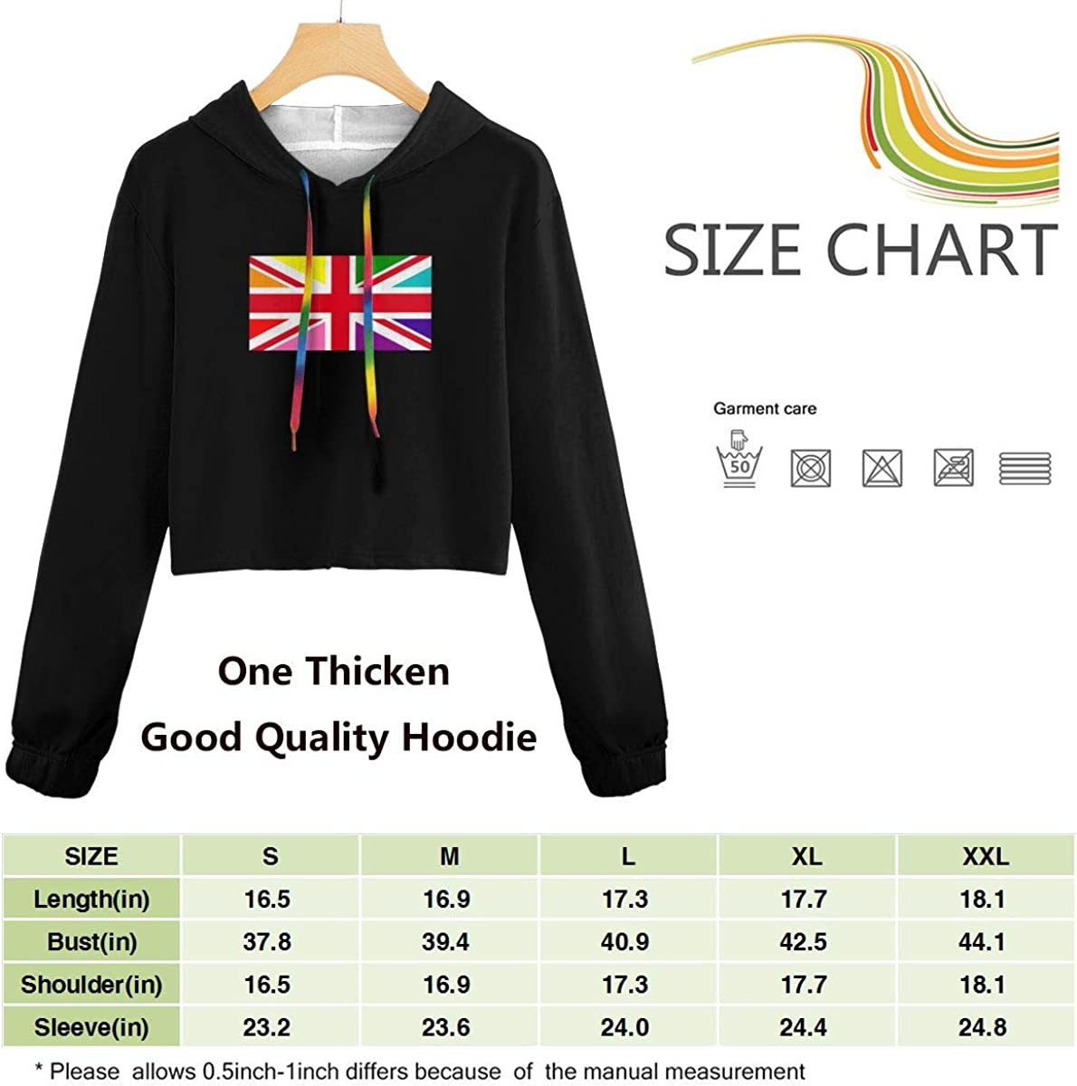 Womens Cropped Hoodie British Rainbow Flag Exposed Muscle Sweater